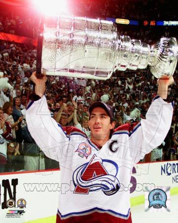 Colorado Avalanche Joe Sakic with the 2001 Stanley Cup 2001 NHL Stanley Cup Finals