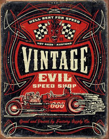 Vintage Evil - Hell Bent Rods Tin Sign