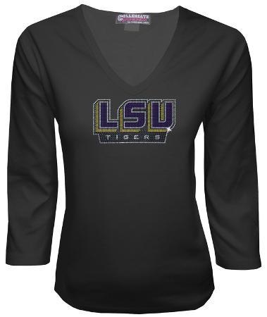 Juniors: LSU Tigers V-neck with Crystal Embellished Logo