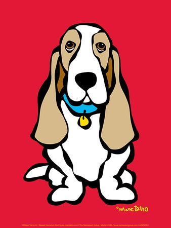 Basset Hound on Red