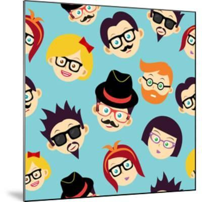 Vintage Hipsters Faces Pattern