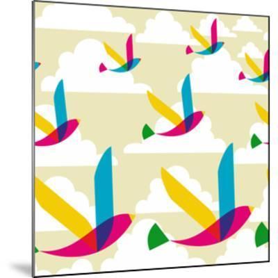 Transparent Multicolored Birds Pattern