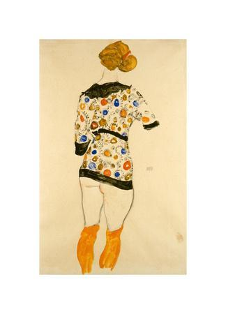 Standing Woman in a Patterned Blouse