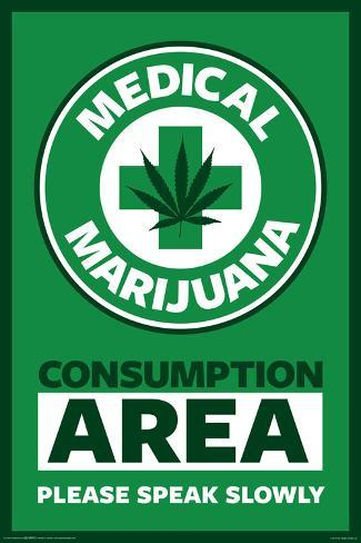 Medical Marijuana Consumption Area Please Speak Slowly Poster 24x36