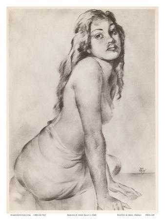 Marion - Topless Hawaiian Girl - from Etchings and Drawings of Hawaiians