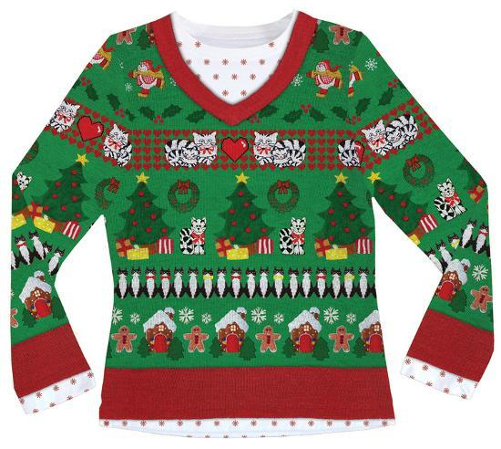 7a31febbed Womens Long Sleeve  Ugly Xmas Sweater with Cats Costume Tee Womens Long  Sleeves at AllPosters.com