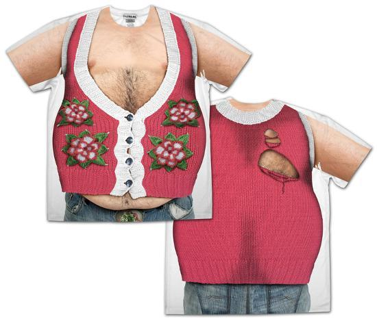 Hairy Chest And Belly Poinsettia Ugly Xmas Sweater Costume Tee