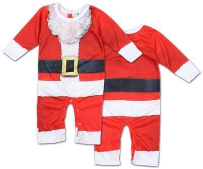 Infant Long Sleeve: Santa Suit Romper with Legs