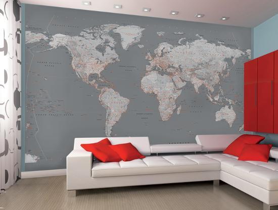Contemporary Grey World Map Wallpaper Mural Wallpaper Mural at