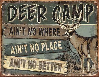 JQ - Deer Camp Tin Sign