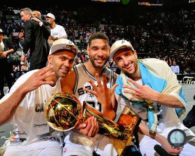 San Antonio Spurs Parker, Duncan, Manu & Ginobili NBA Championship Trophy 2014 NBA Finals