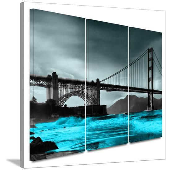Crashing Waves Golden Gate Bridge 3 Piece Gallery Wred Canvas Set