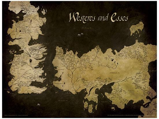 Game of Thrones - Westeros and Essos Antique Map Game Of Thronrs Map on