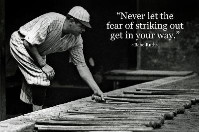 Babe Ruth Striking Out Famous Quote Plastic Sign