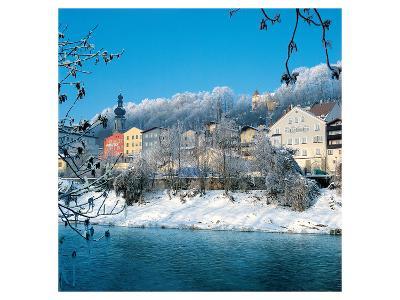 Salzburg and Salzach in Winter