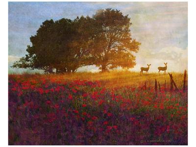 Trees, Poppies and Deer III