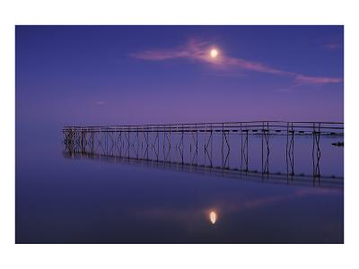 Pier and Moon at Dusk