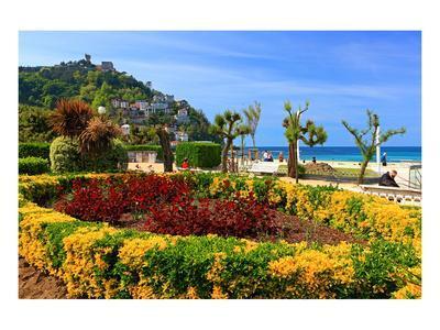 Seafront Promenade with View of Monte Igueldo Mountain in Donostia-San Sebastian on Costa Vasca