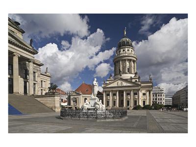 French Cathedral and statue of Friedrich Schiller on Gendarmenmarkt, Berlin, Germany