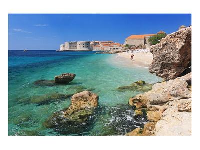 Beach with the Old Town of Dubrovnik, Dalmatia, Croatia