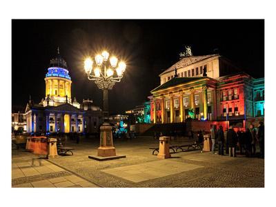 Festival of Lights, New Church, Deutscher Dom, and Berlin Theatre at Gendarmenmarkt, Berlin