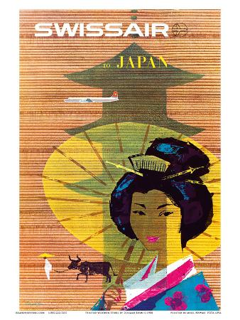 Swissair to Japan, Tokyo - Painted Wooden Store