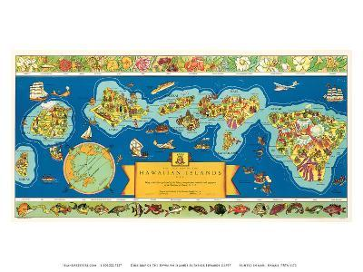 Dole Map of The Hawaiian Islands: description of the history, transportation, industries, geography