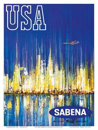 USA Sabena Belgian World Airlines - New York Manhattan Skyline