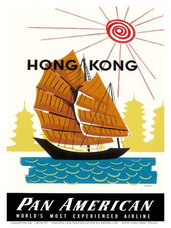 Hong Kong, China Pan Am American Traditional Sail Boat and Temples