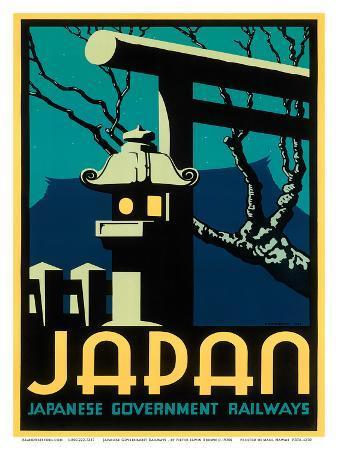 Japanese Government Railways - Night Twilight Shrine Cherry Blossom