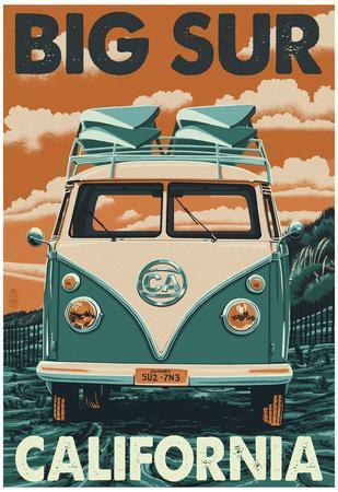 Big Sur, California - VW Van Blockprint