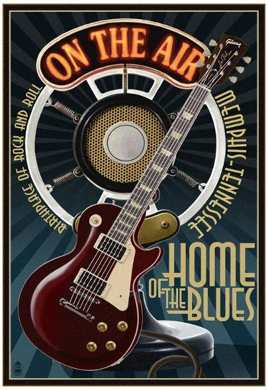Memphis Tennessee Guitar And Microphone Blue Posters