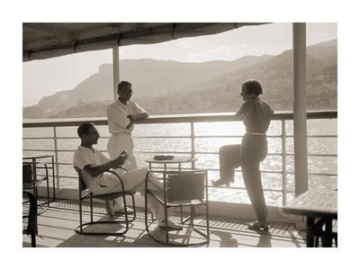 Jeunes Gens Sur le Pont D'Un Bateau Dans la Baie de Monte Carlo, 1920