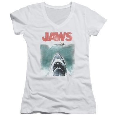 Juniors: Jaws - Vintage Poster V-Neck