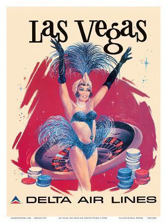 Las Vegas, USA, Vegas Show Girl, Delta Air Lines