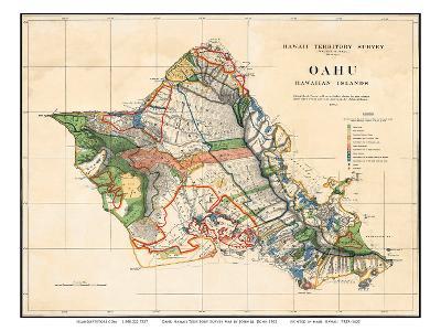 Oahu, Hawaiian Islands, Hawaii Territory Survey Map