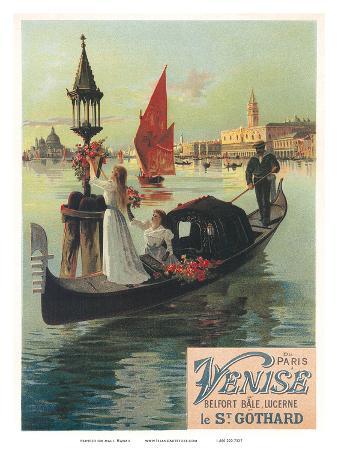 Venise par Saint Gothard, Venice, Italy, Gondolas Gondolieri, Art Nouveau, La Belle Époque