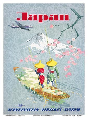 Japan, Cherry Tree Blossoms, Mount Fuji, SAS Scandinavian Airlines System