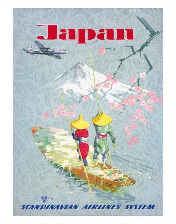 Japan, Cherry Tree Blossoms, Mount Fuji, SAS Scandinavian Airlines System