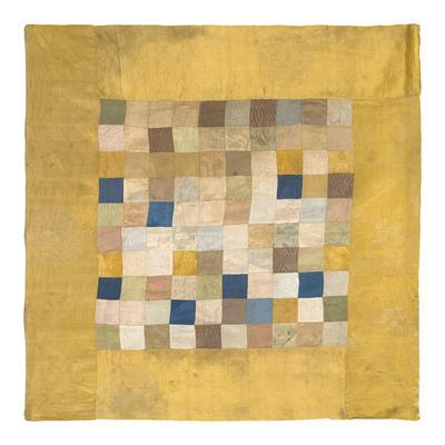 Embroidered Silk, Checkered on Gold