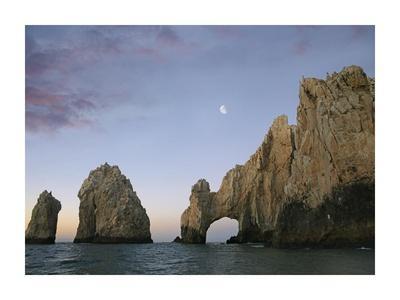 Moon over El Arco, Cabo San Lucas, Mexico