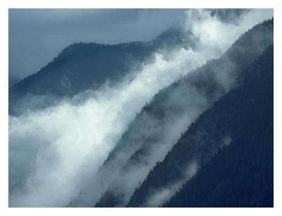 Mist rising in the Cascade Mountains near Hope, British Columbia, Canada