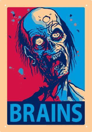 Zombie Brains Tin Sign