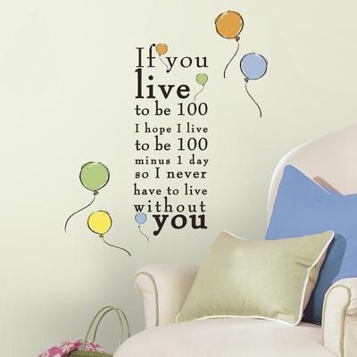 """Winnie the Pooh - """"Live to be 100"""" Peel and Stick Wall Decals"""