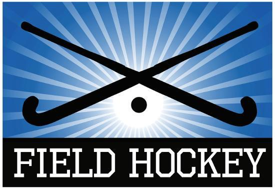 Field Hockey Crossed Sticks Blue Sports Poster Print ...