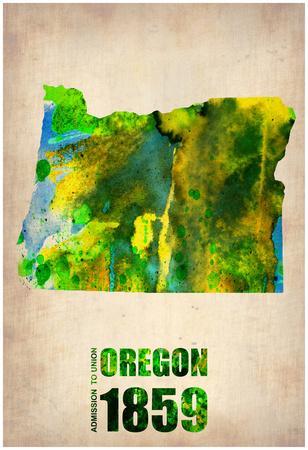 Oregon Watercolor Map
