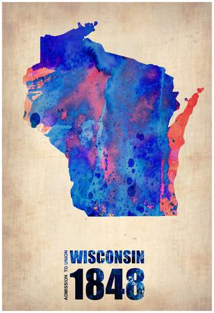 Wisconsin Watercolor Map