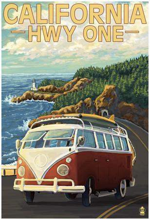 California Highway One Coast Vw Van