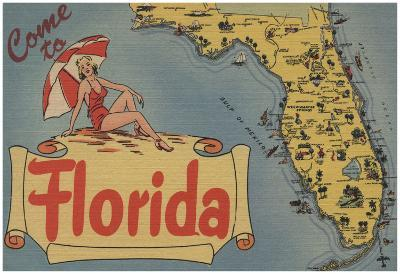 Vintage Florida Map.Come To Florida Map Of The State Pin Up Girl Florida Poster At
