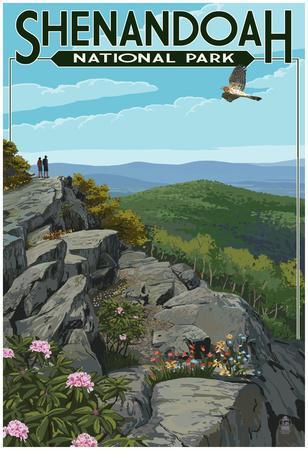 Shenandoah National Park, Virginia - Hikers And Hawk
